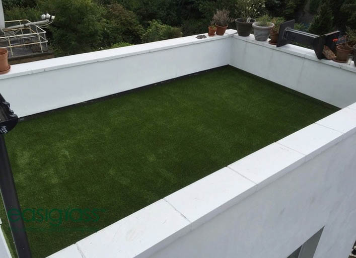 balcony in London with fake grass