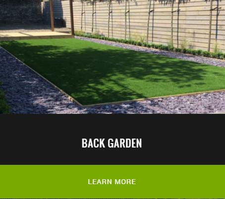 back garden installed with new fake lawn - London